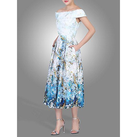 Buy Jolie Moi Floral Print Bardot Midi Dress, Blue Online at johnlewis.com