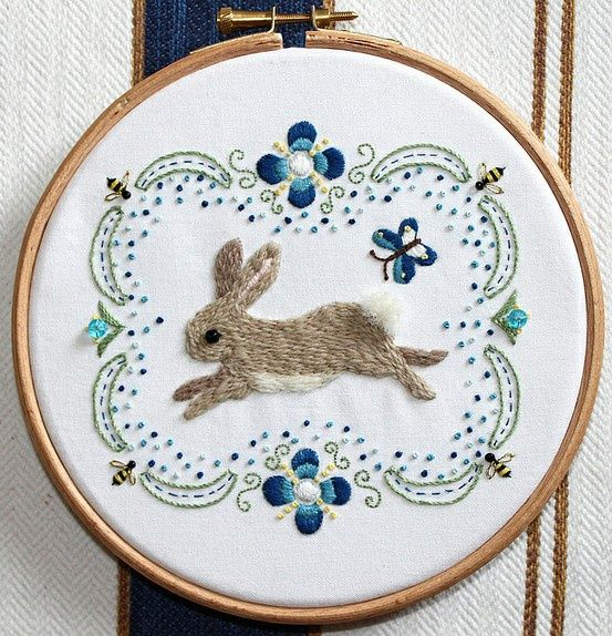 Cute rabbit embroidery