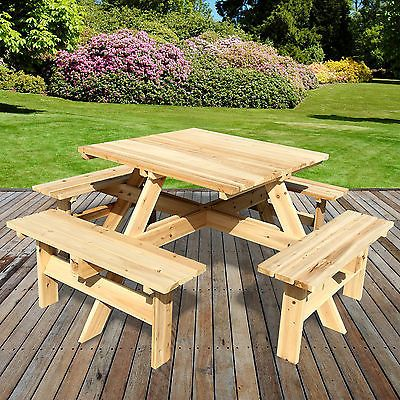 8 Seater Outdoor Picnic Table Bench Seat Pub Garden Park Playground Square Wood Picnic Table Outdoor Picnic Tables Outdoor Patio Table