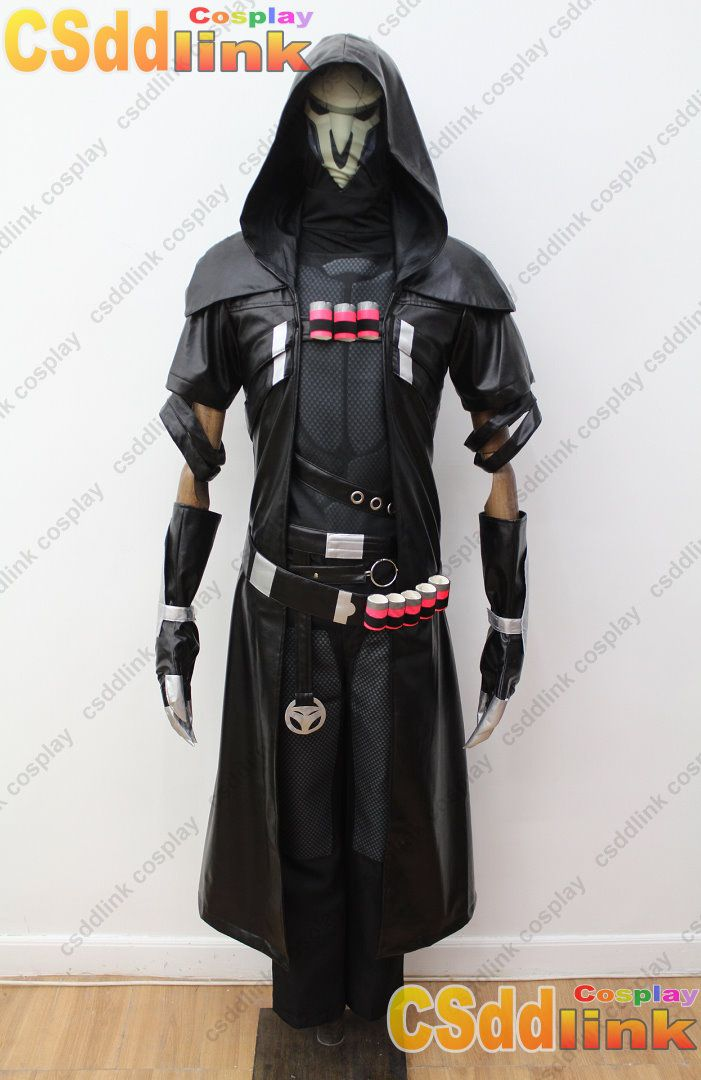 Overwatch Reaper Cosplay Costume with mask black , CSddlink cosplay