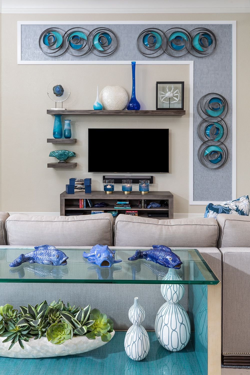 Popular Interior Design For Tv Showcase: Feature Wall. Surrounds Wall-mounted TV.