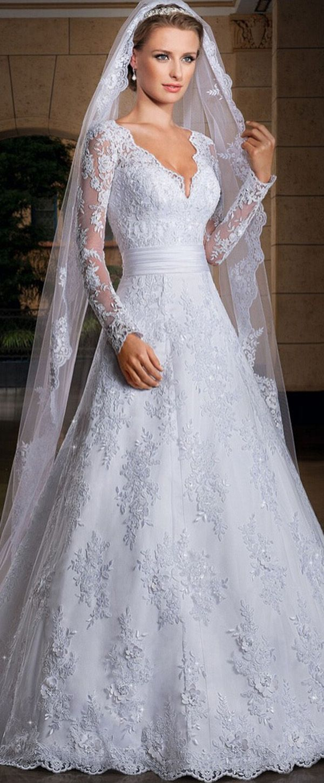 Elegant lace vneck neckline natural waistline aline wedding dress