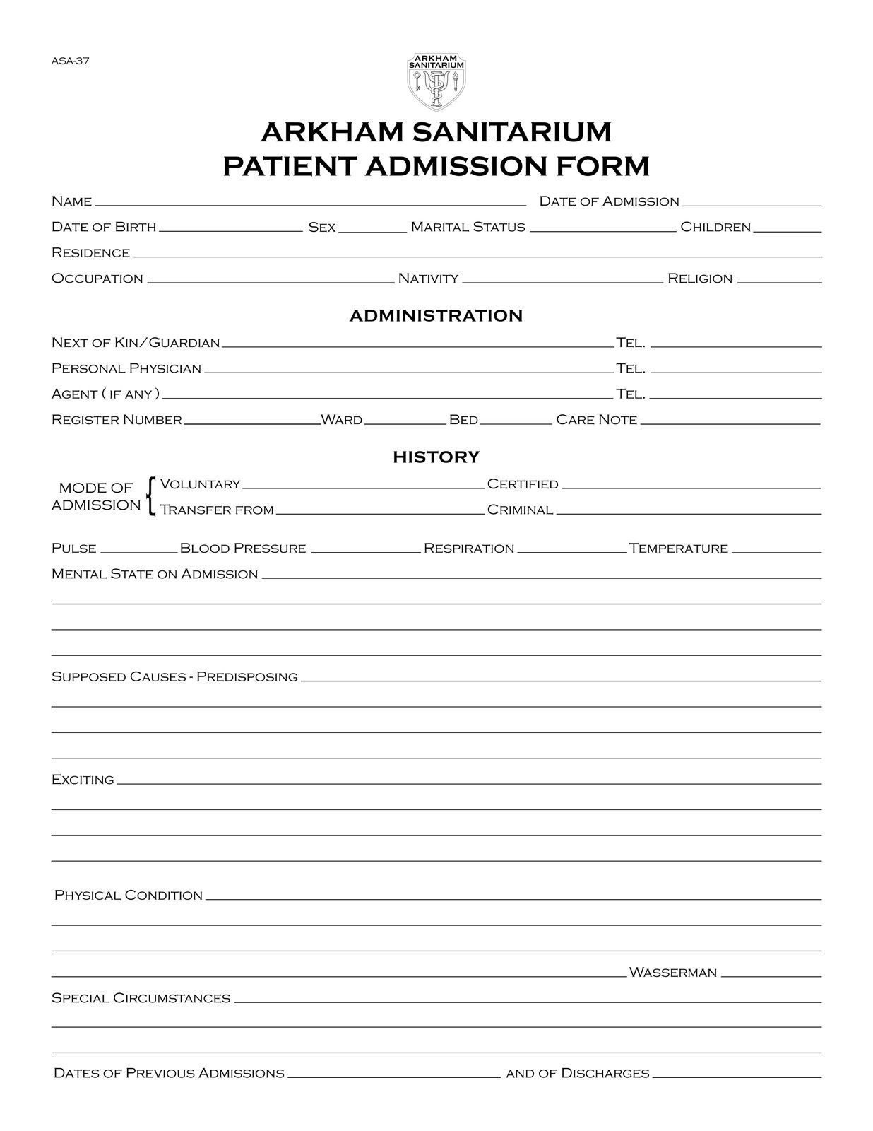 Wonderful Another Prop Document From The Arkham Sanitarium Project, This Is A Basic Admission  Form Covering The Patientu0027s Personal Information, Admini. Ideas Hospital Admission Form Template