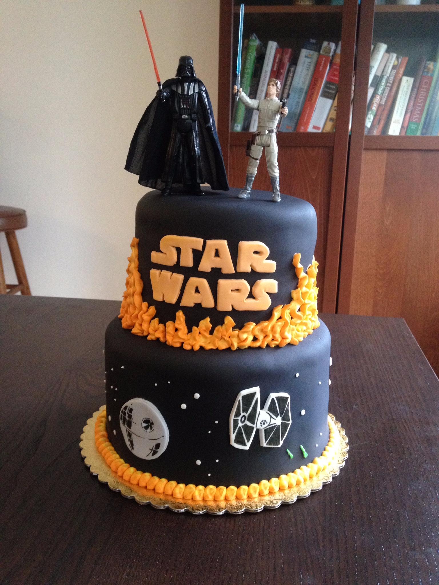 Star Wars Cake Darthvader Lukeskywalker Tiefighter Deathstar