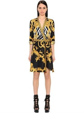 New Versace Printed Twill Signature Kimono Dress fashion online.  [$1925]wooclo top<