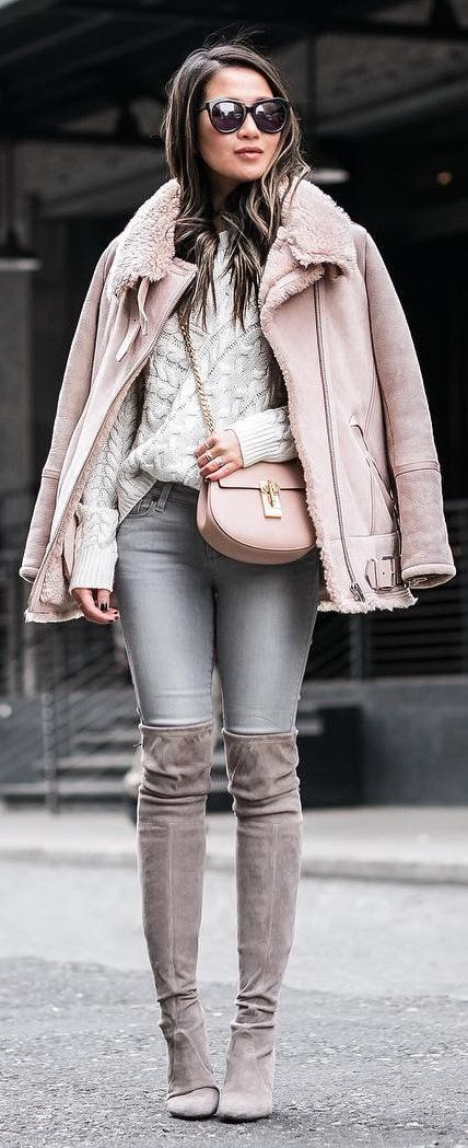 Winter Fashion Pink Jacket Grey Skinny Jeans Brown Velvet Otk Boots White Knit Winter Fashion Fashion Winter Outfits
