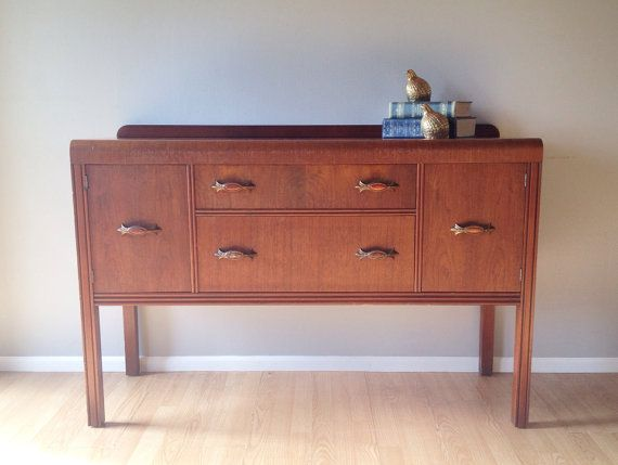 Vintage Art Deco Waterfall Buffet 1940s Sideboard Retro Furniture And Home Decor Rerunroom Vintage Furniture Furniture Retro Furniture