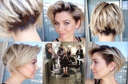 Hair stylist Briana Cisneros. Short angled bob with ...