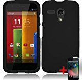 MOTOROLA MOTO G SOLID BLACK RUBBERIZED COVER SNAP ON HARD CASE + FREE SCREEN PROTECTOR from [ACCESSORY ARENA] (Solid Black)