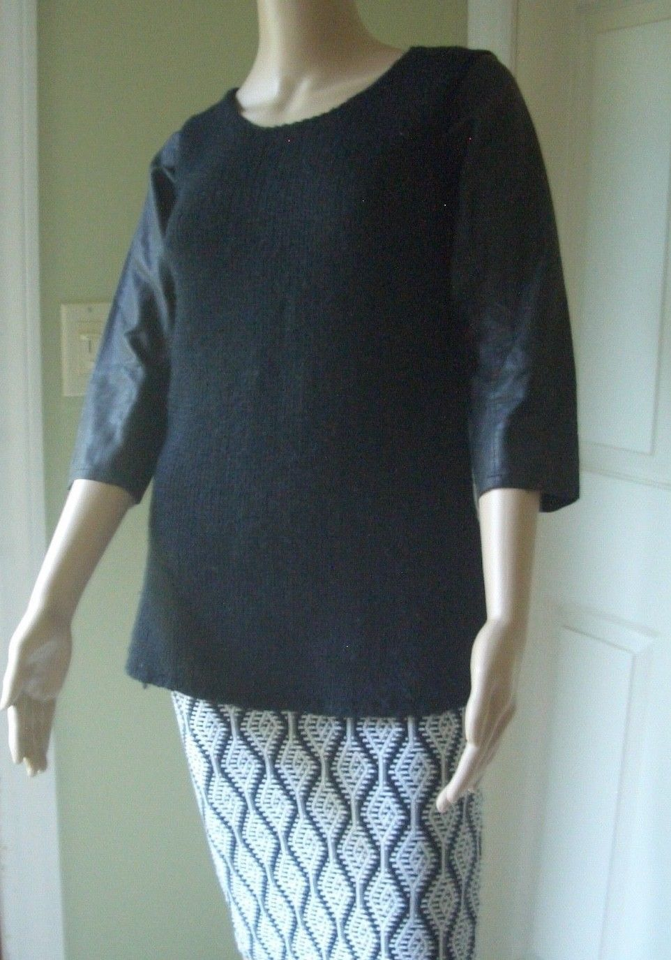 f8ad3852e9b 12.00 ❤ Zara Black Faux Leather Sleeve Knit Sweater Tunic Top S ❤ #leather
