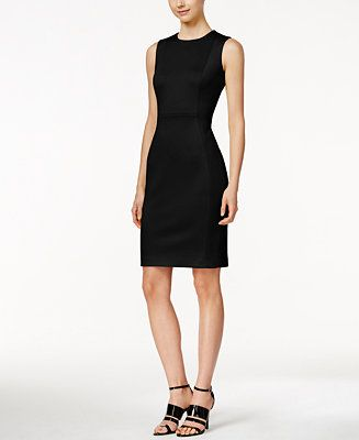 7c447188f5dcb Calvin Klein Scuba Crepe Sheath Dress - Dresses - Women - Macy s
