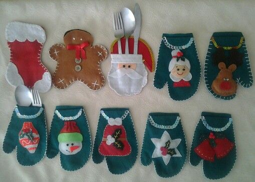 Porta cubiertos navidenos en lency