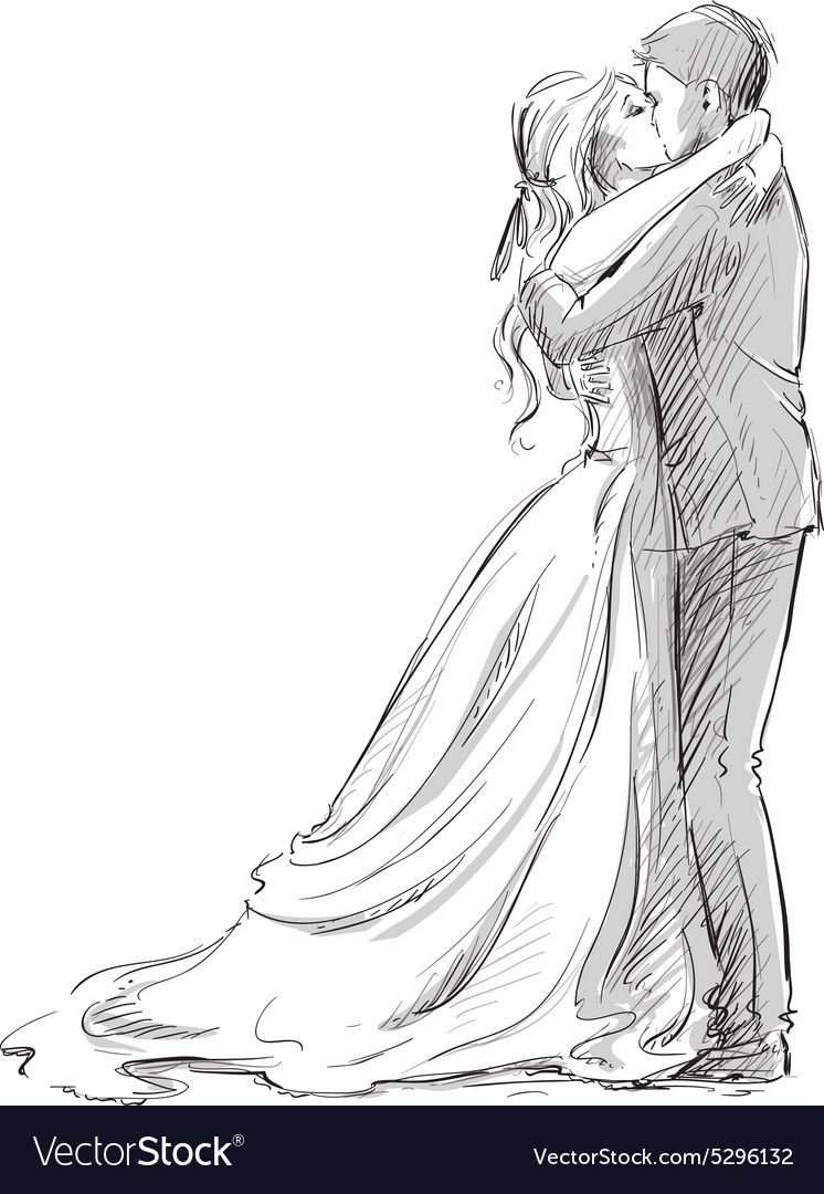Wedding couple kiss. Newlywed. Vector sketch. Download a Free Preview or High Quality Adobe Illustrator Ai, EPS, PDF and High Resolution JPEG versions.