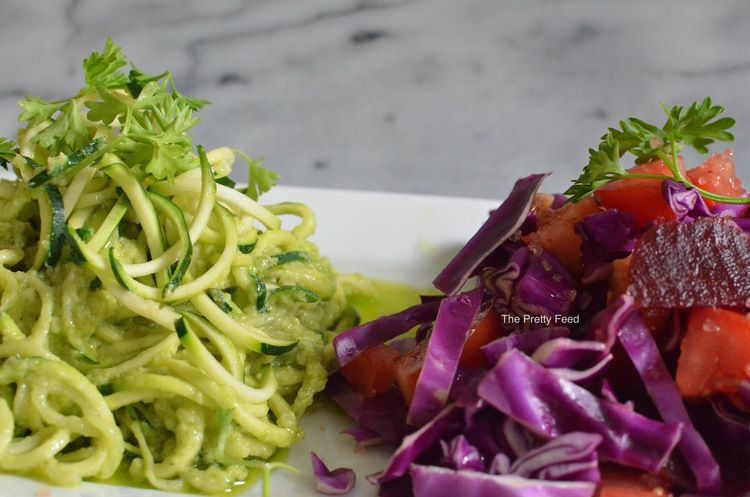 'Faux' Pasta: Avocado Zoodles With Cabbage Beet Slaw