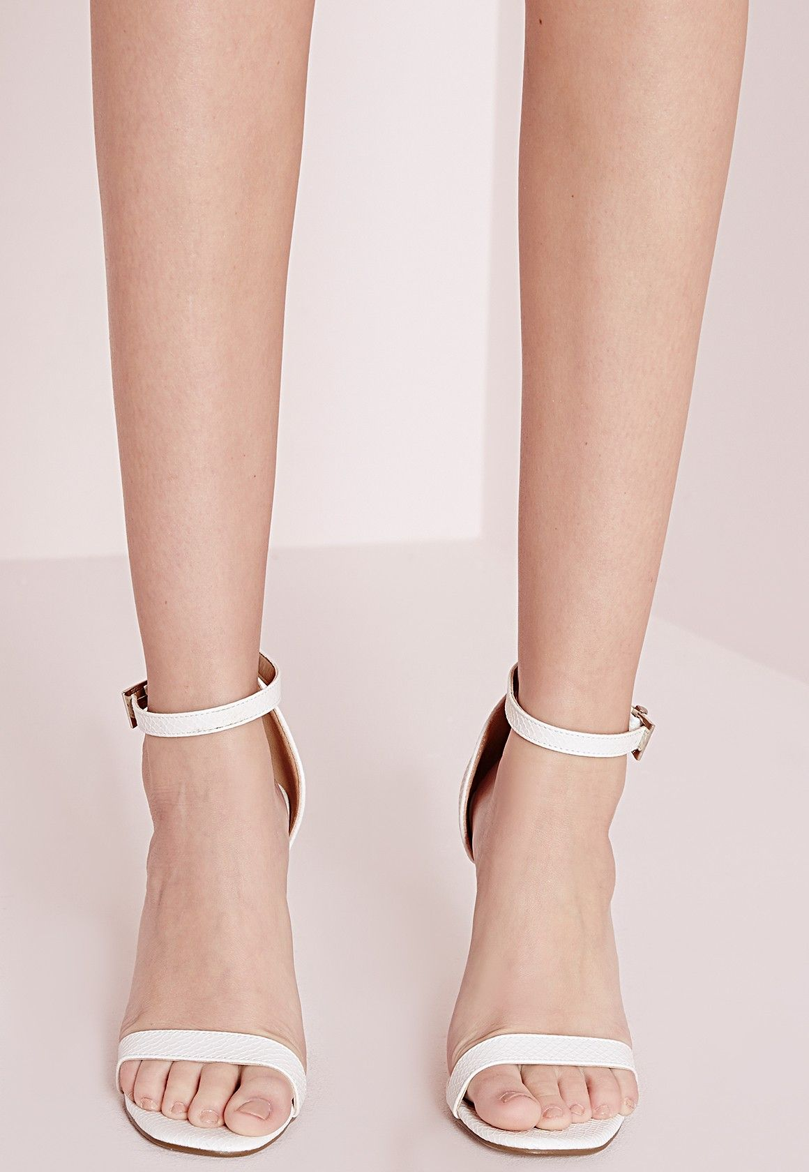 b8f8b737f87024 Missguided - Barely There Strappy Heeled Sandals White Croc