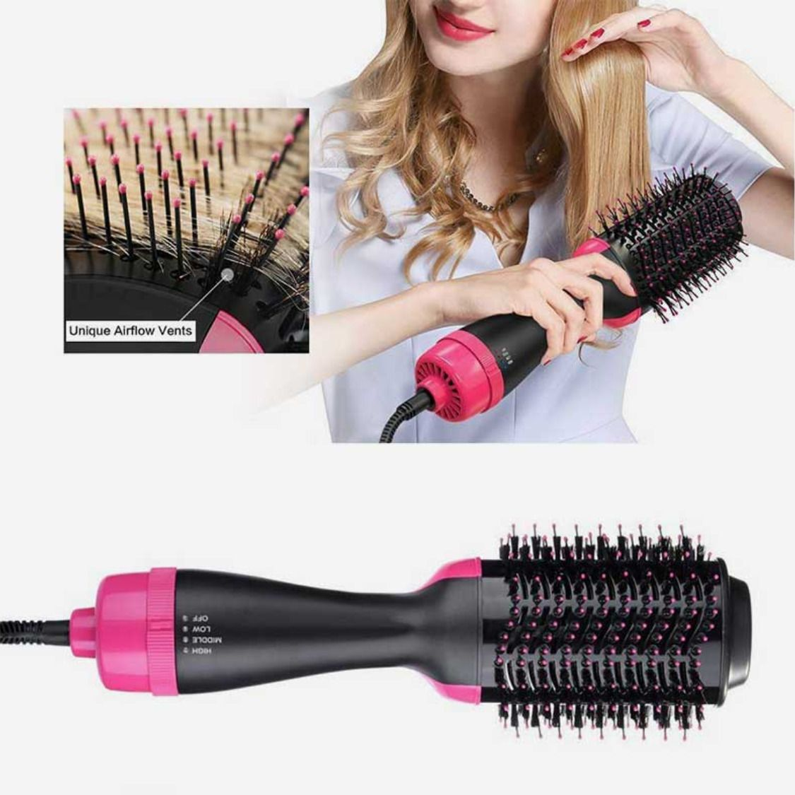 4 In 1 Hair Dryer Styler And Volumizer Negative Ion Hair Straightener And Curler Brush Professional Hair Dryer Hair Brush Straightener Hair Blower