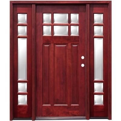 Pacific Entries 68 In X 80 In Craftsman 6 Lite Stained Mahogany Wood Prehung Front Door With 12 In Sidelites M36ml412 The Home Depot Wood Entry Doors Craftsman Front Doors Craftsman Style Front Doors