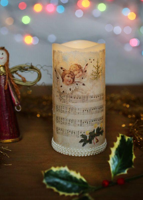 led christmas candle christmas candle decoupaged candle rustic vintage candle christmas decoration - Led Christmas Candles