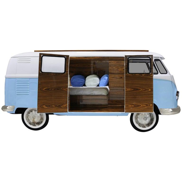 Photo of Bun Van Bed with Blue Exterior and Dark Wooden Doors