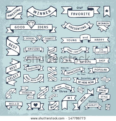 hand drawn banners in crafty diy style fun cute banner shapes