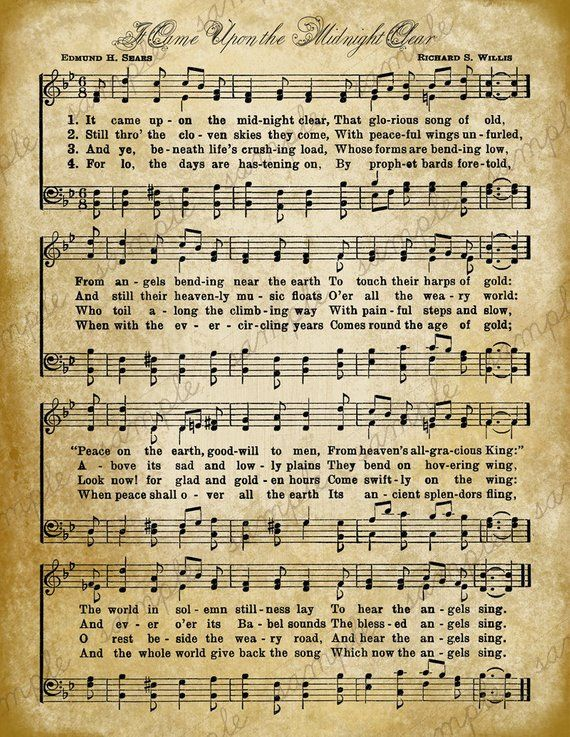 Old Christmas Carols.Grungy Aged Vintage Christmas Carol Music Digital Sheet