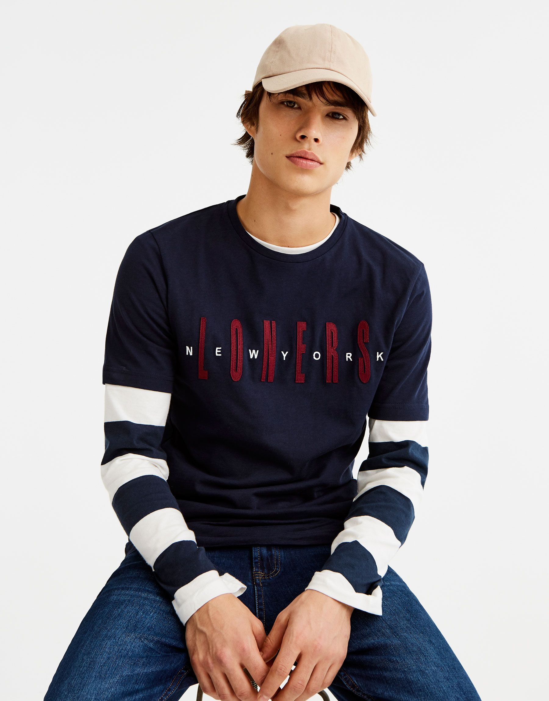 Camiseta Teijdo Sudadera Print Camisetas Ropa Hombre Pull Bear Espana Blue Shirt Men Mens Casual Outfits Mens Sweatshirts