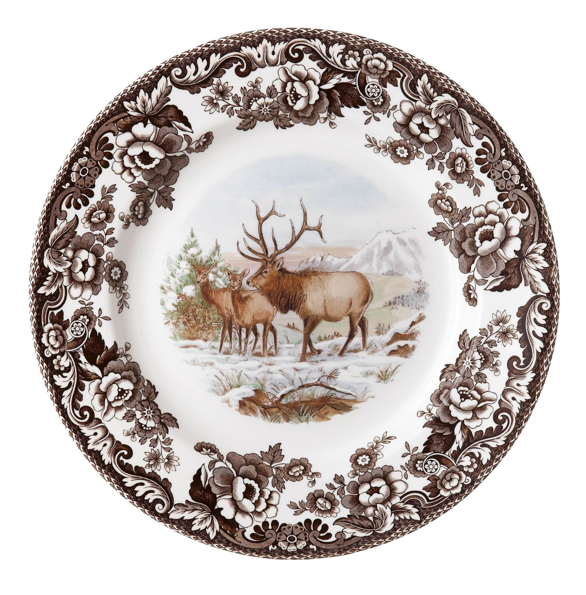 Woodland Elk 8 Bone China Salad Plate Spode Woodland Spode Woodland Deer