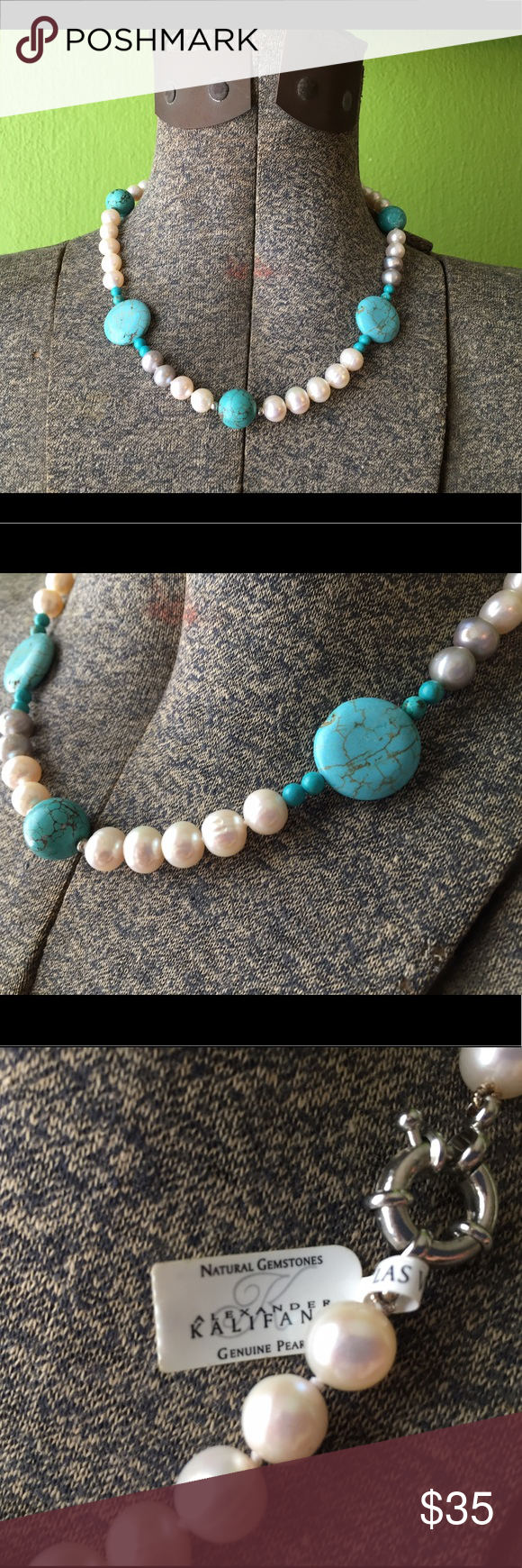 Pearl & Turquoise Necklace Genuine pearl and turquoise necklace by Alexander Kalifano.  New with tag!  Very heavy gemstone necklace with silver clasp in excellent condition! Alexander Kalifano Jewelry Necklaces