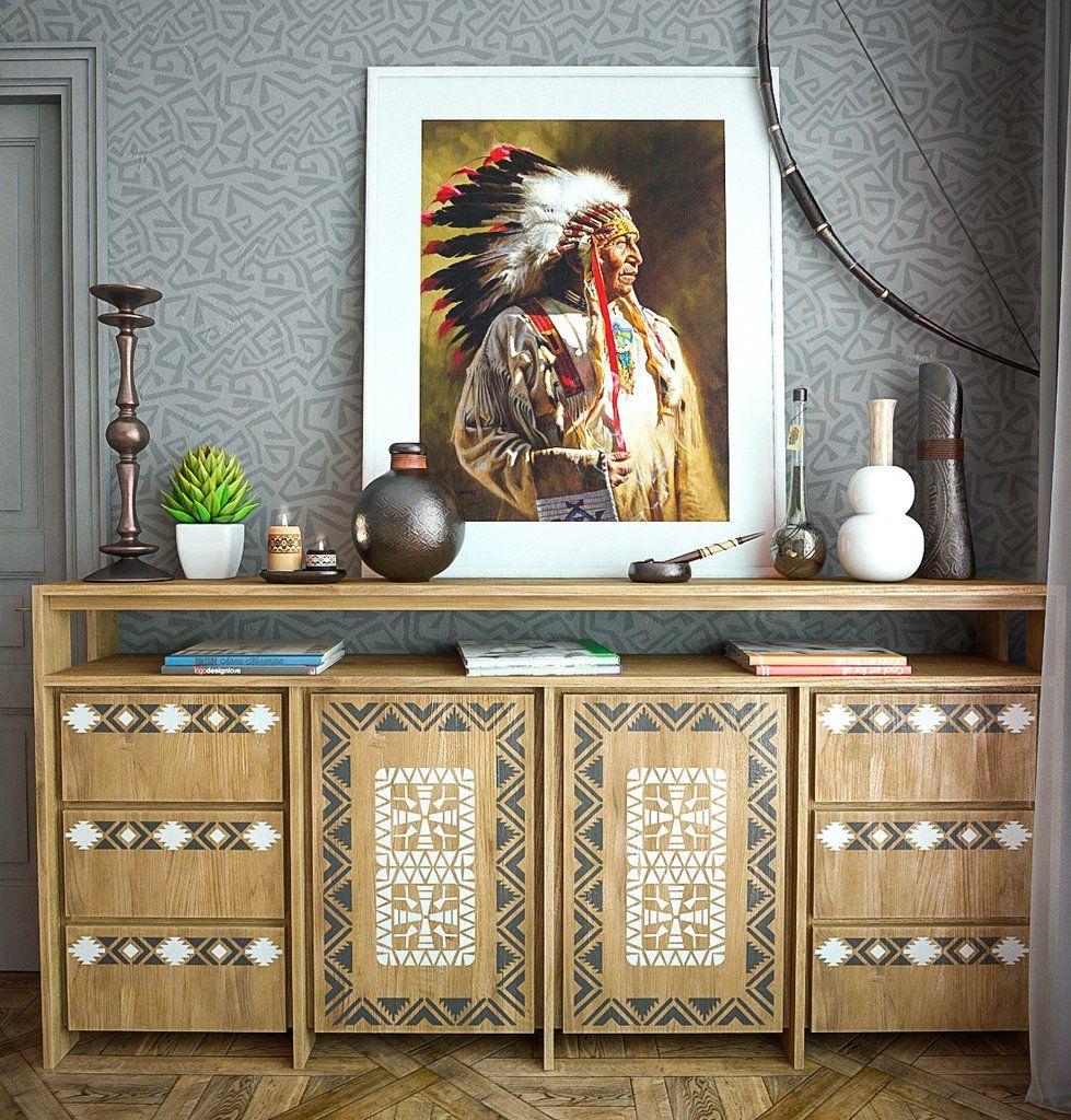 Native American Motif Stencil Kit   Furniture Stencils Kit   Native  American Furniture Stencils Kit