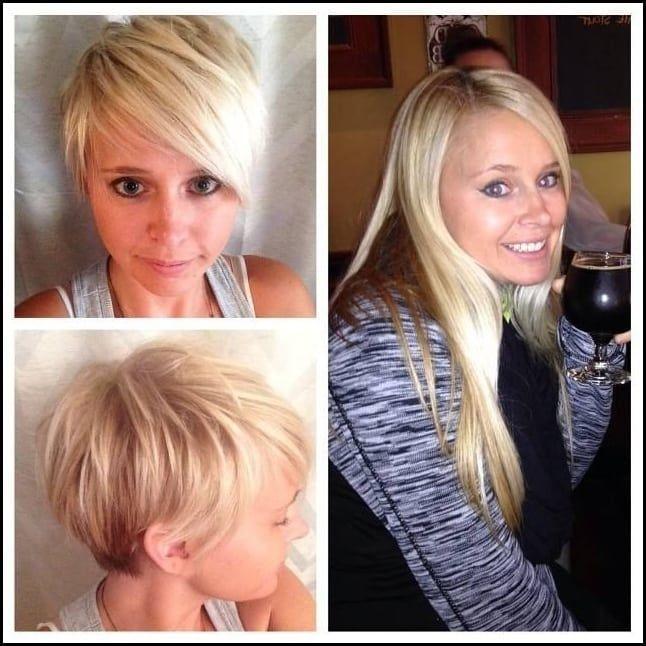 Hübschen Vorher-Nachher Frisuren von lang auf kurz
