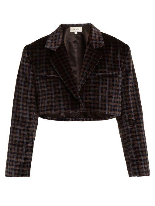 Tartan-checked cotton-velvet cropped jacket Isa Arfen Low Shipping Fee EGPv0t