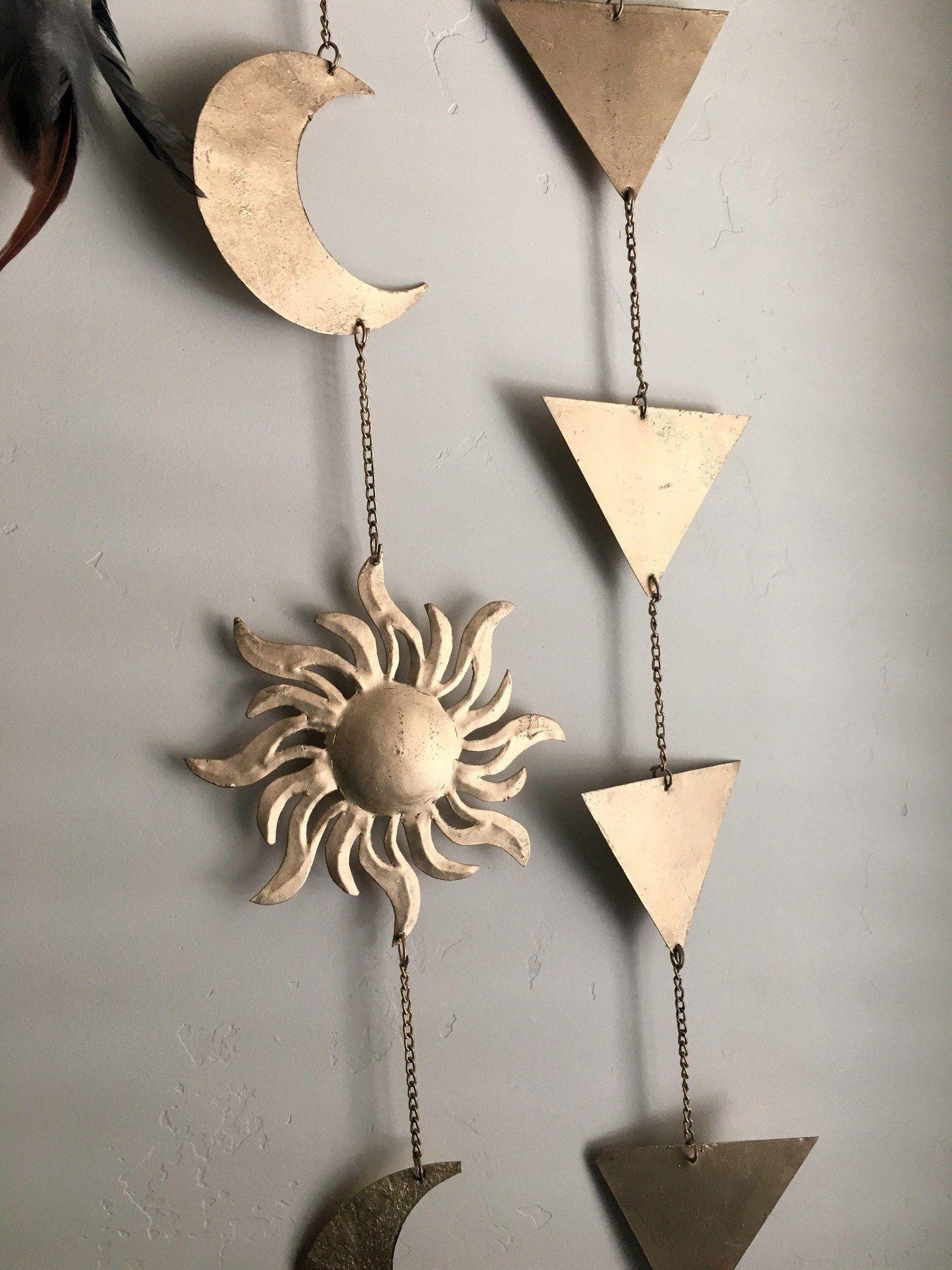 Sun Moon and Stars Wall Hanging Decor | Wall hanging decor, Wall ...