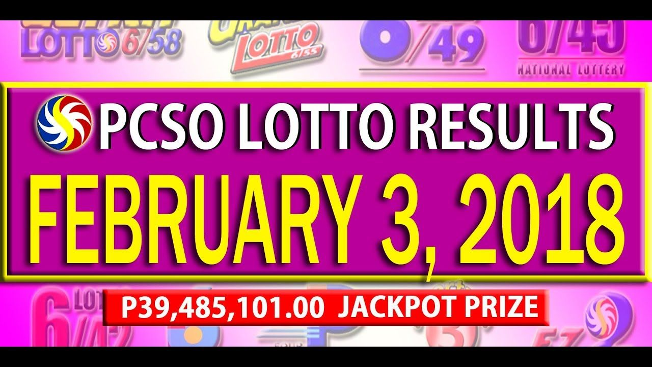 Pcso Lotto Results February 3 2018 6 55 6 42 6d Swertres
