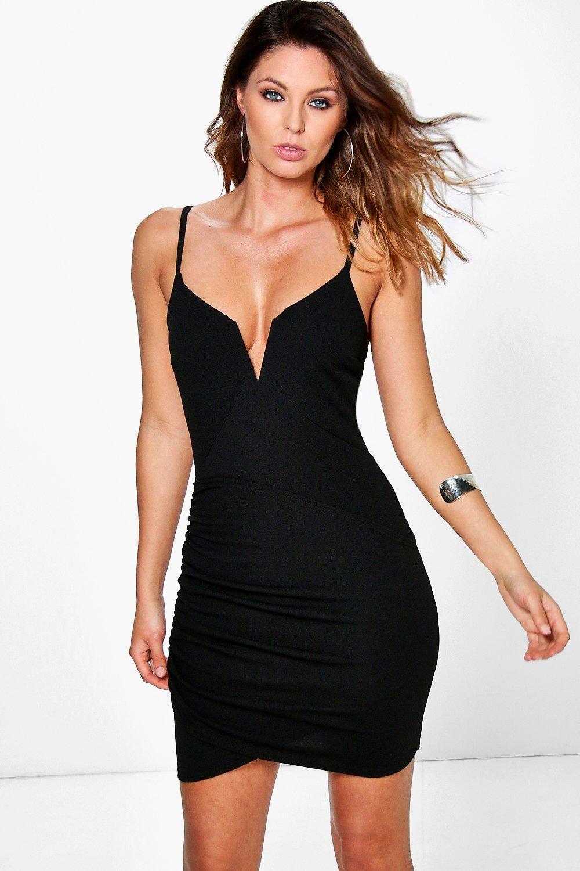 Sandir Plunge Wrap Bodycon Dress | boohoo | Pleated mini ...