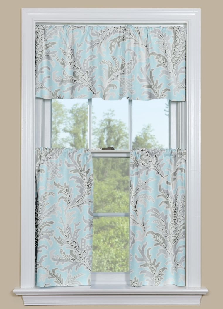 Blue and Grey Beach Themed Kitchen Curtain - Tempest Blue | Summer ...