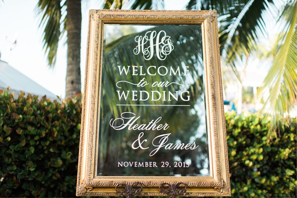 Heather and james mirrored wedding sign black