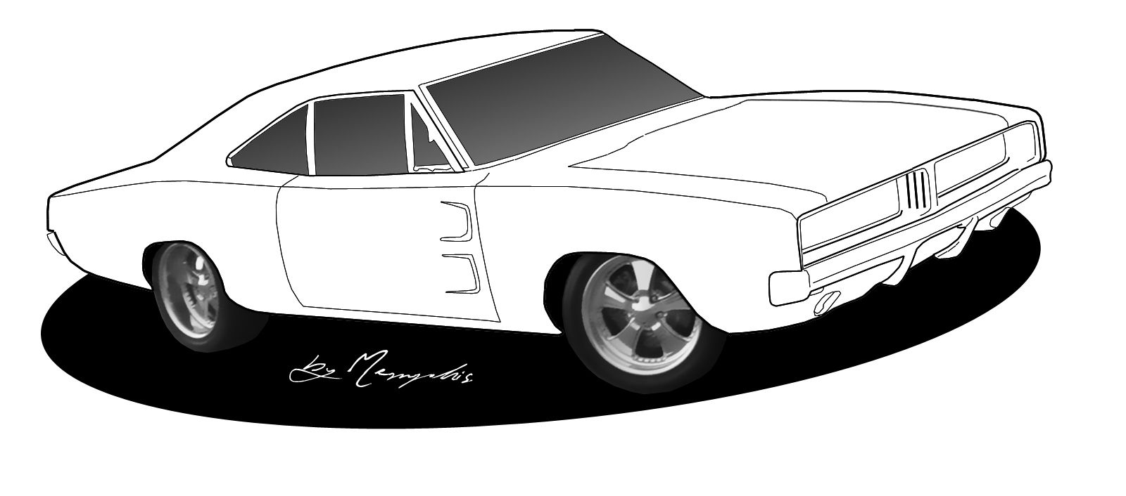 Sideview Muscle Car Stock Clipart Black And White. Amigalib.com ...
