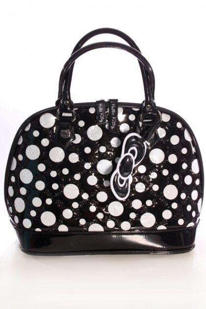 daf97f5dfa65 Black and White Polka Dot Hello Kitty Handbag