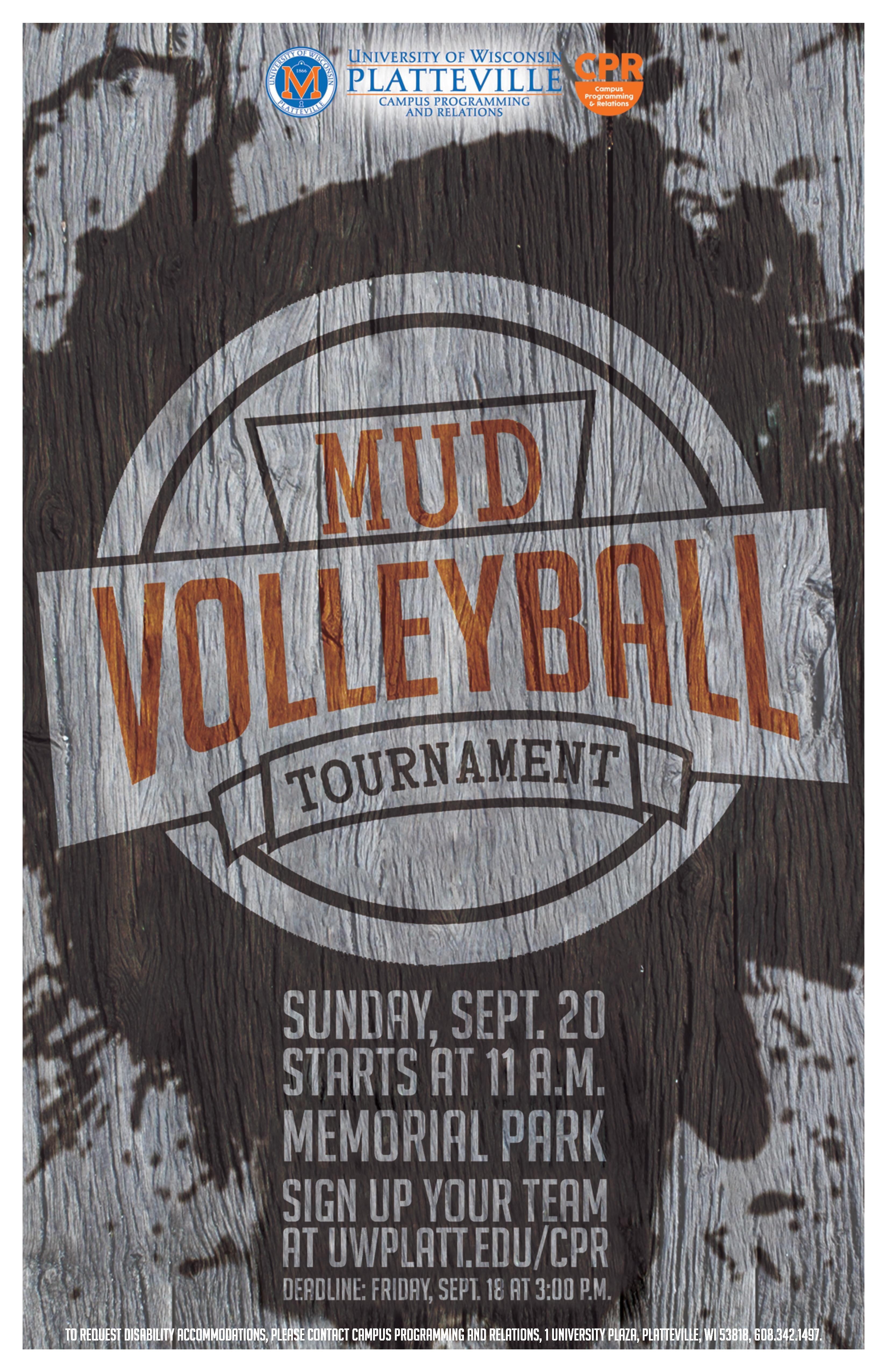 Mud Volleyball Tournament Event Poster Greek Week Volleyball Tournaments