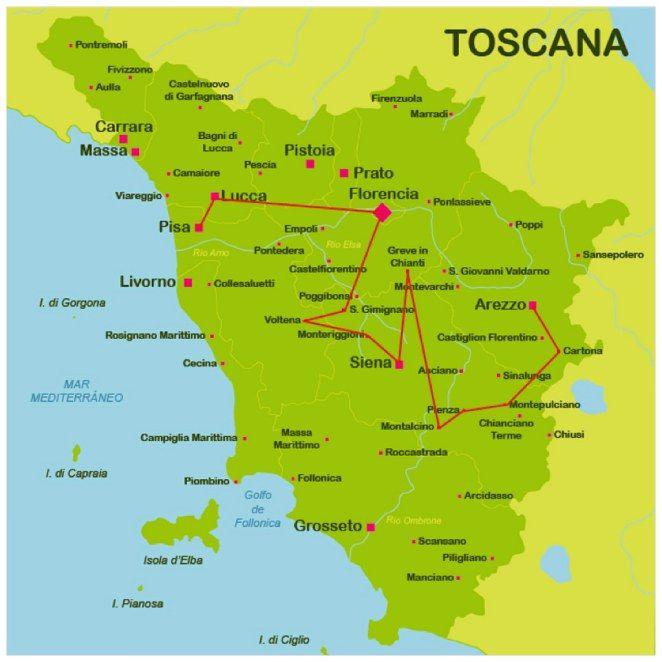 Mapa De La Toscana Y Sus Pueblos.Mapa La Toscana Plcs Toscana Viaje Toscana Y Toscana Italia