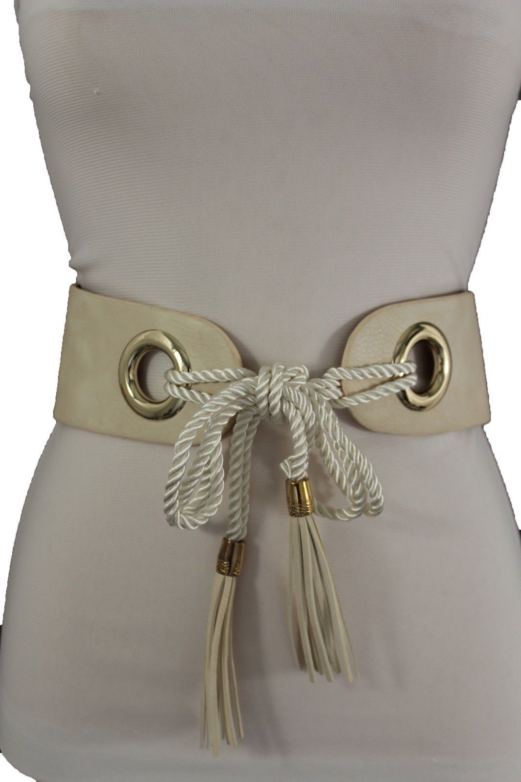 23f824cd6a24 Off White Brown Faux Leather Hip High Waist Elastic Stretch Tie Belt ...