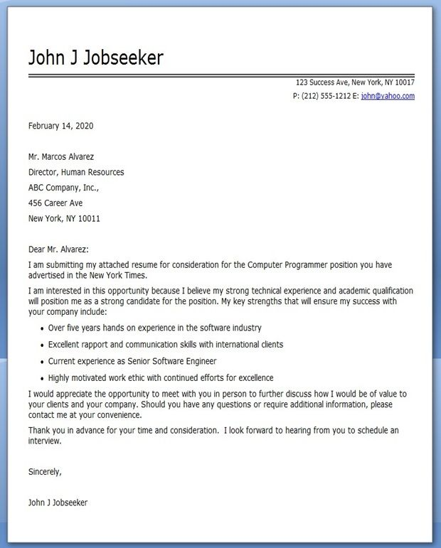 Computer Programmer Cover Letter Sample | Creative Resume Design ...