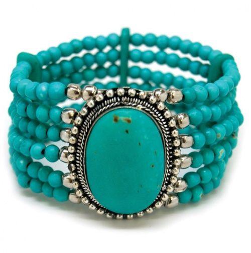 Turquoise Beaded Bracelet with Center Pendant.