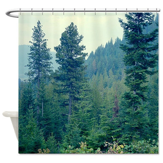 Forest Shower Curtain Pine Tree Shower Curtain Green Bath Decor