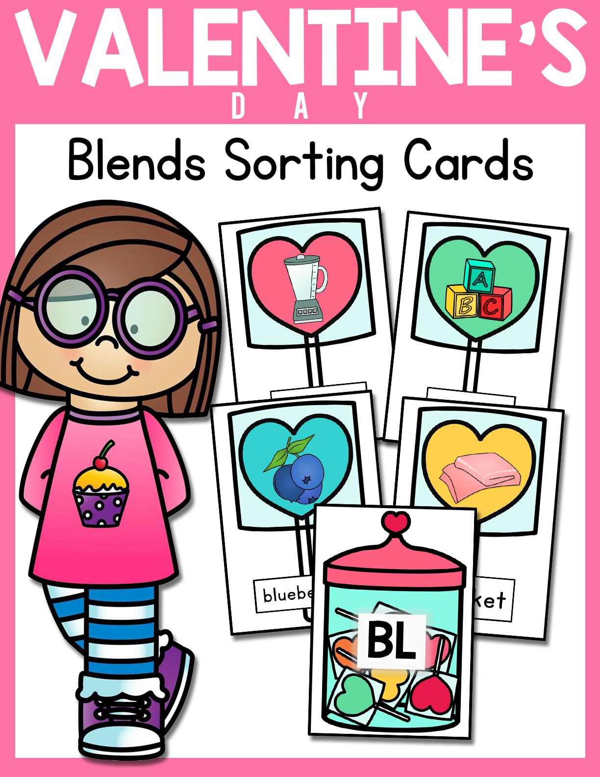 Heart Lollipop Blends Sorting Cards L R S Blends