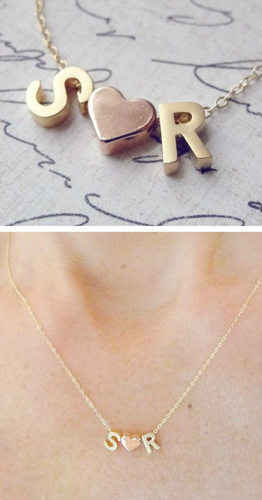 Two Initials Necklace With a Heart Sterling Silver 925 Initials Necklace Two Lovers Personalized Initials Necklace lovers jewelry couple