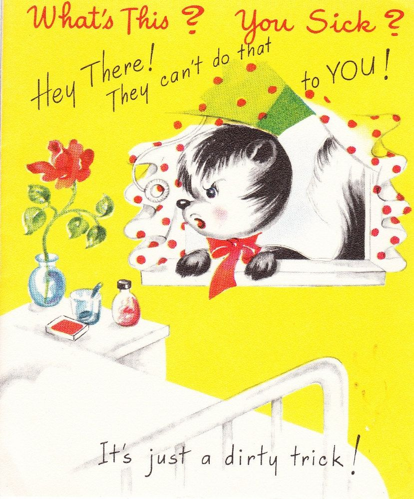 Vintage Get Well Greeting Card 1940s To 1950s Era By
