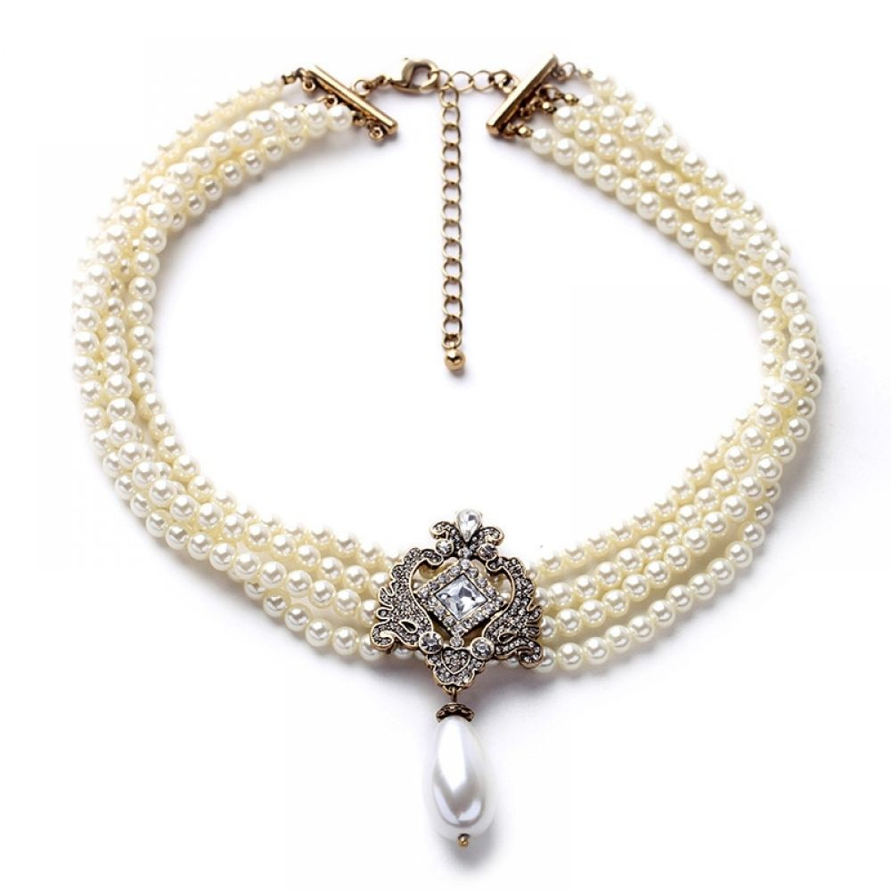 Fashion Copper Jewelry Women Crystal Pearl Collar Chain Beads Choker Necklace