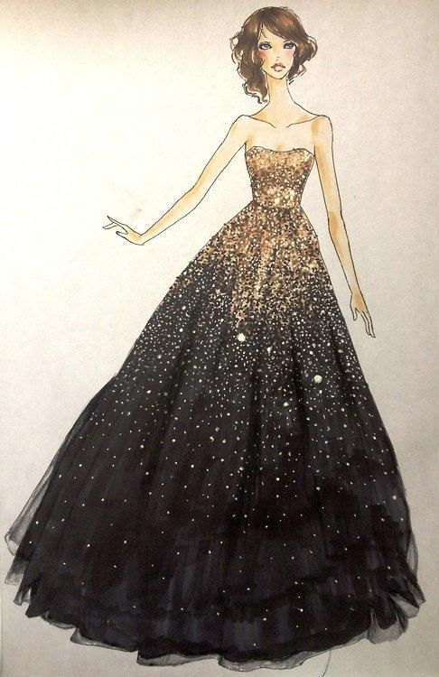 Sparkling Dress Pretty Art Pinterest Fashion Illustrations