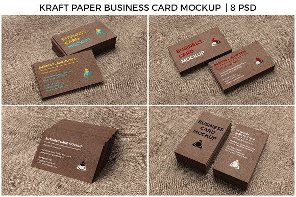kraft paper business card mockup graphics 8 photorealistic high quality mockups of business cards with kraft paper changeable car by aykutfiliz - Kraft Paper Business Cards